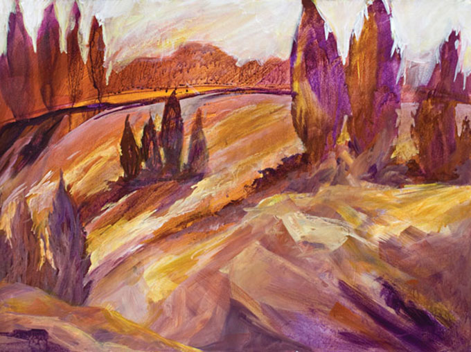 Harriet-Howells-Artist-Umbria-Cedars-Acrylic-22X30-Hand-Paintings-608X454