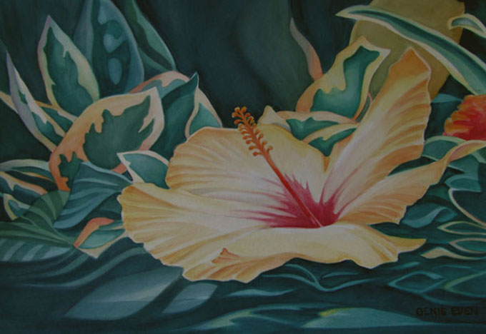 Genie-Even-Yellow-Hibiscus-14X20-Hand-Painting-Artist-608X418