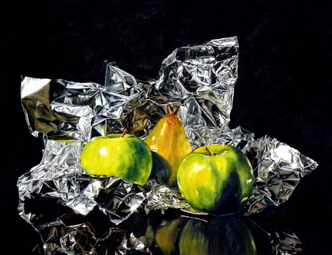 Laurin-Mccracken-Pear-Apples-On-Foil-20X26-608X467