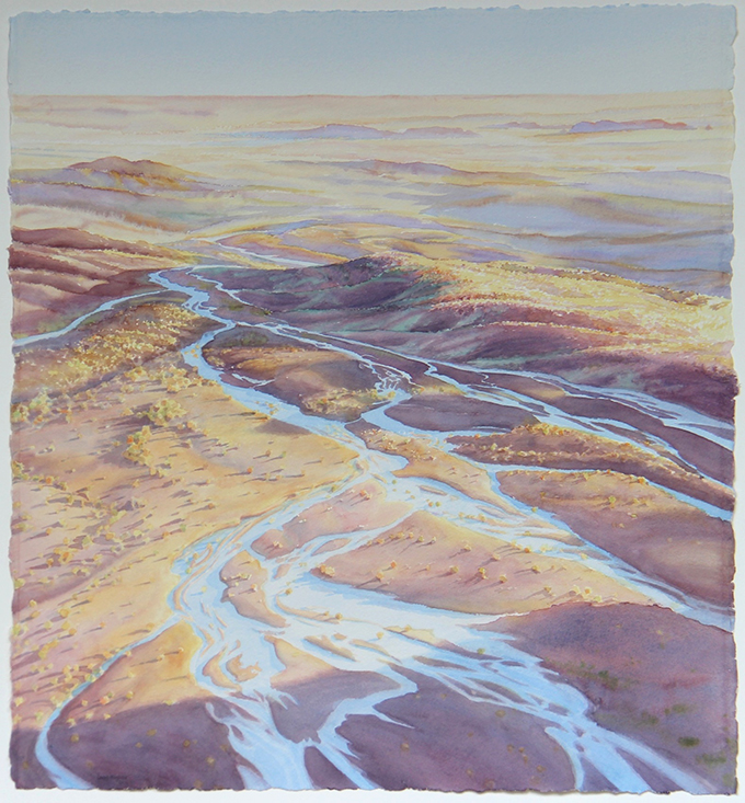 2016 Spreading Dawn, Blue Mesa Outlook, watercolor, 22.5x24.5-680px