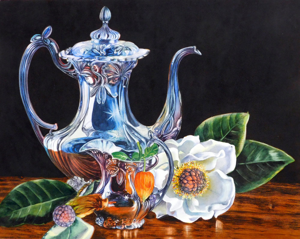 Soon's painting shows how she creates silver, a magnolia blossom and leaves.